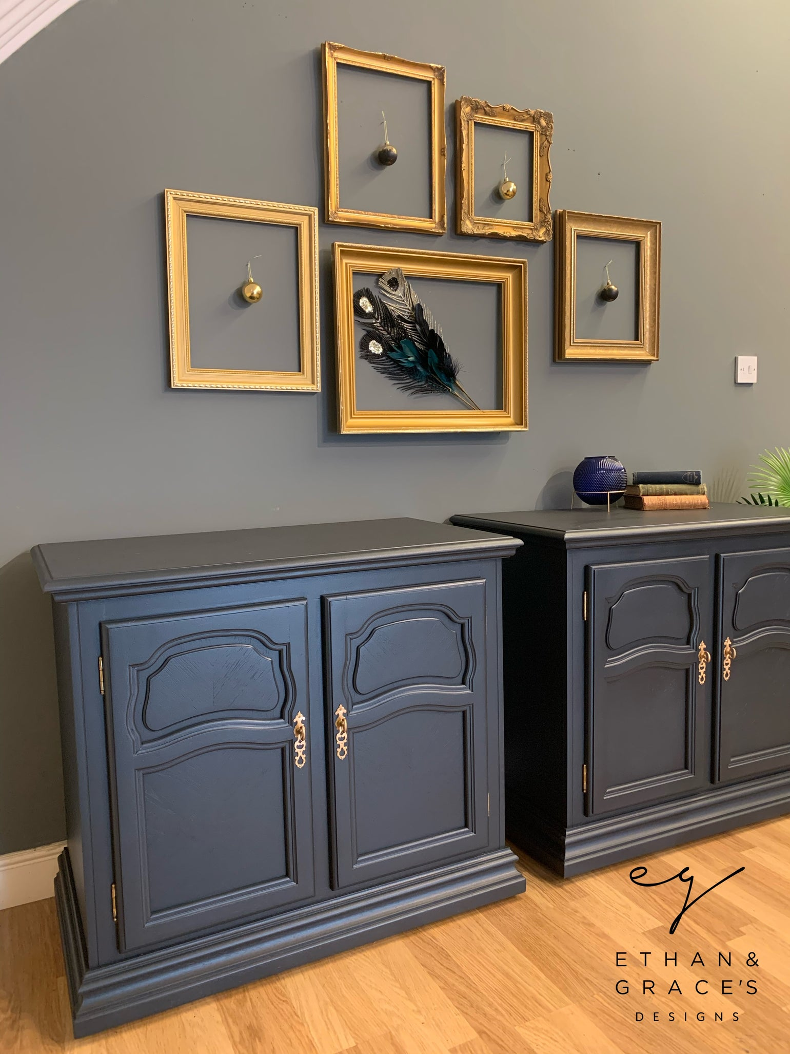 """Image of Farrow & Ball """"Railings""""  wooden cupboards"""