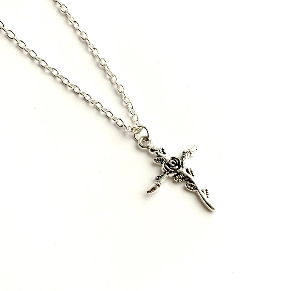 Image of Rose cross necklace