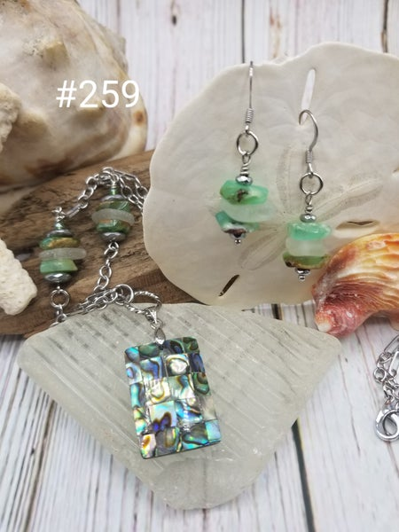 Image of Abalone-Sea Glass- Chrysoprase- Necklace/Earring Set-#259