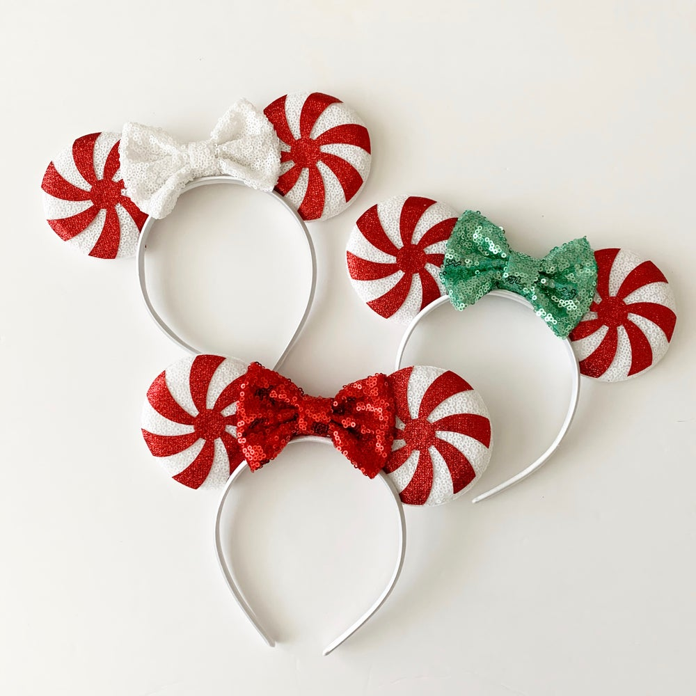 Image of Red Peppermint Swirl Mouse Ears