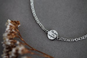 Image of Latin engraved disc bracelet (in silver or 9ct gold)