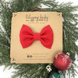 Image of BOYS Red Linen Bow Tie (Ready to Ship)