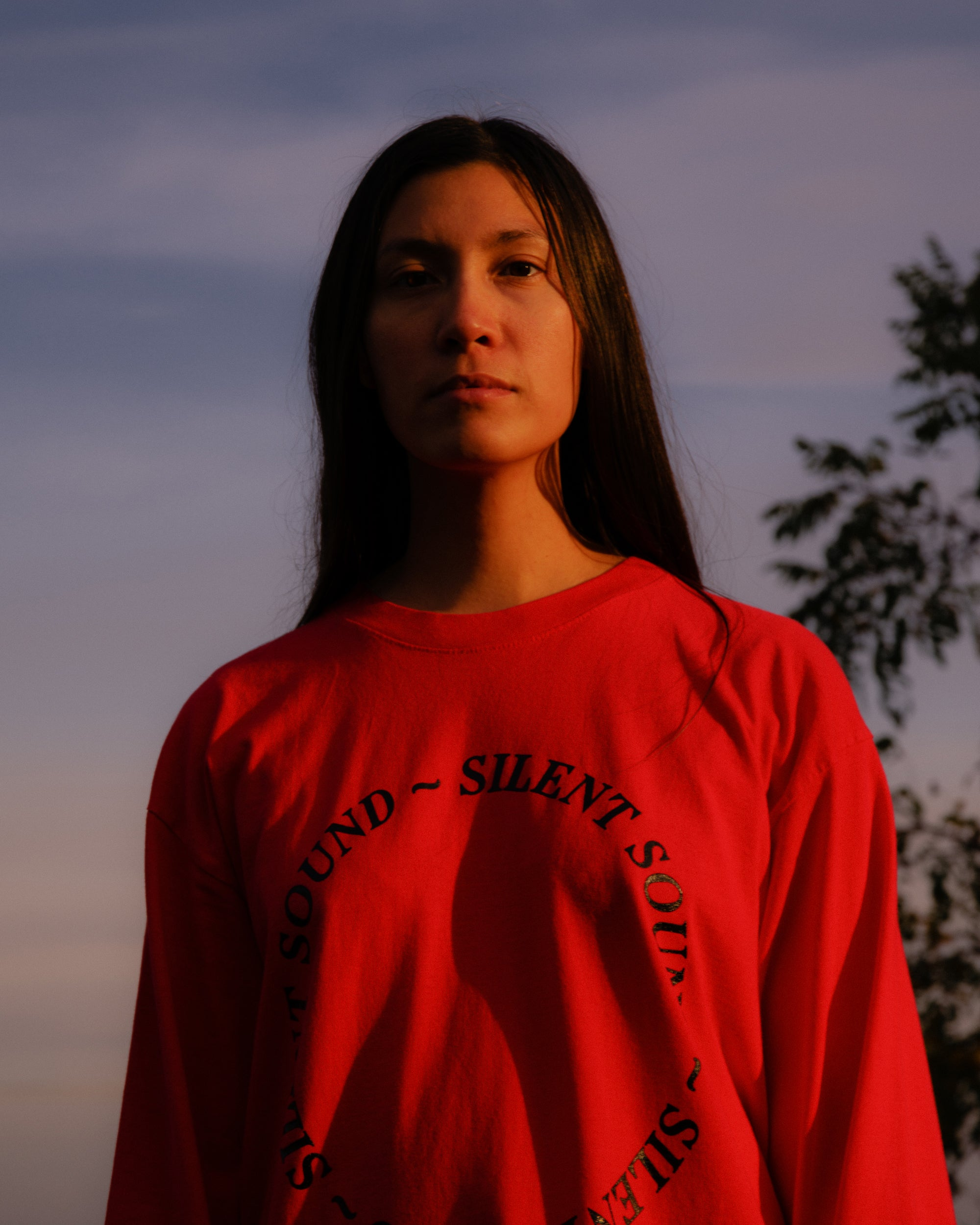 Image of L/S Circle Tee - Tomato Red / Black