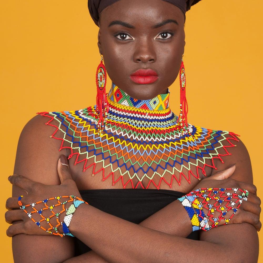 Image of Traditional Multicolored Lace Choker w Zulu Circle Earrings