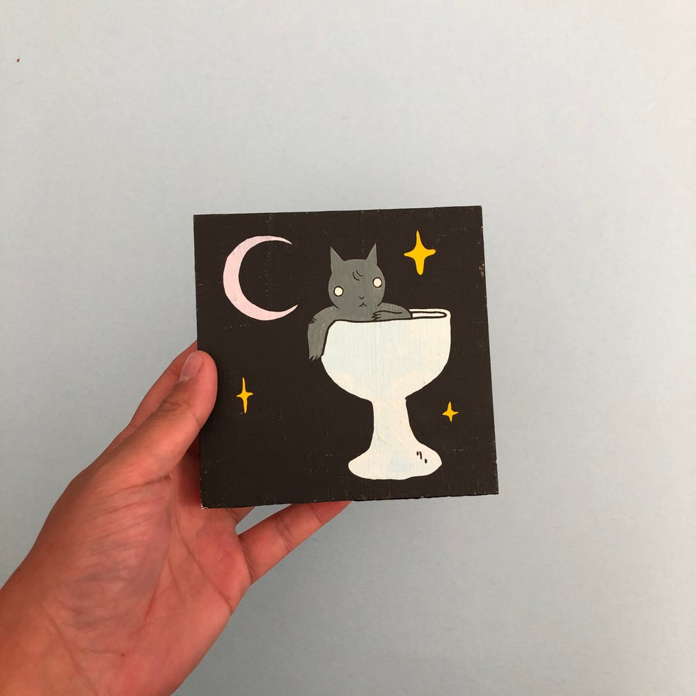 Image of Goblet Cat Painting