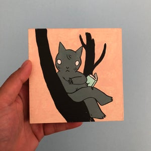 Image of Cat in Tree Reading Painting