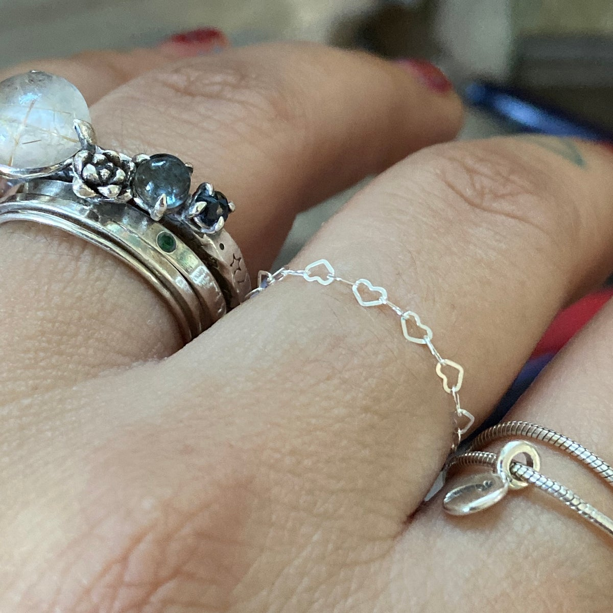 Image of Tiny heart chain ring