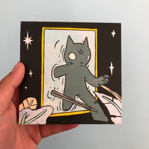 Image of Cat Walking Through Mirror Painting