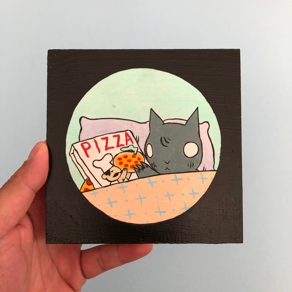 Image of Pizza Lover Cat Painting