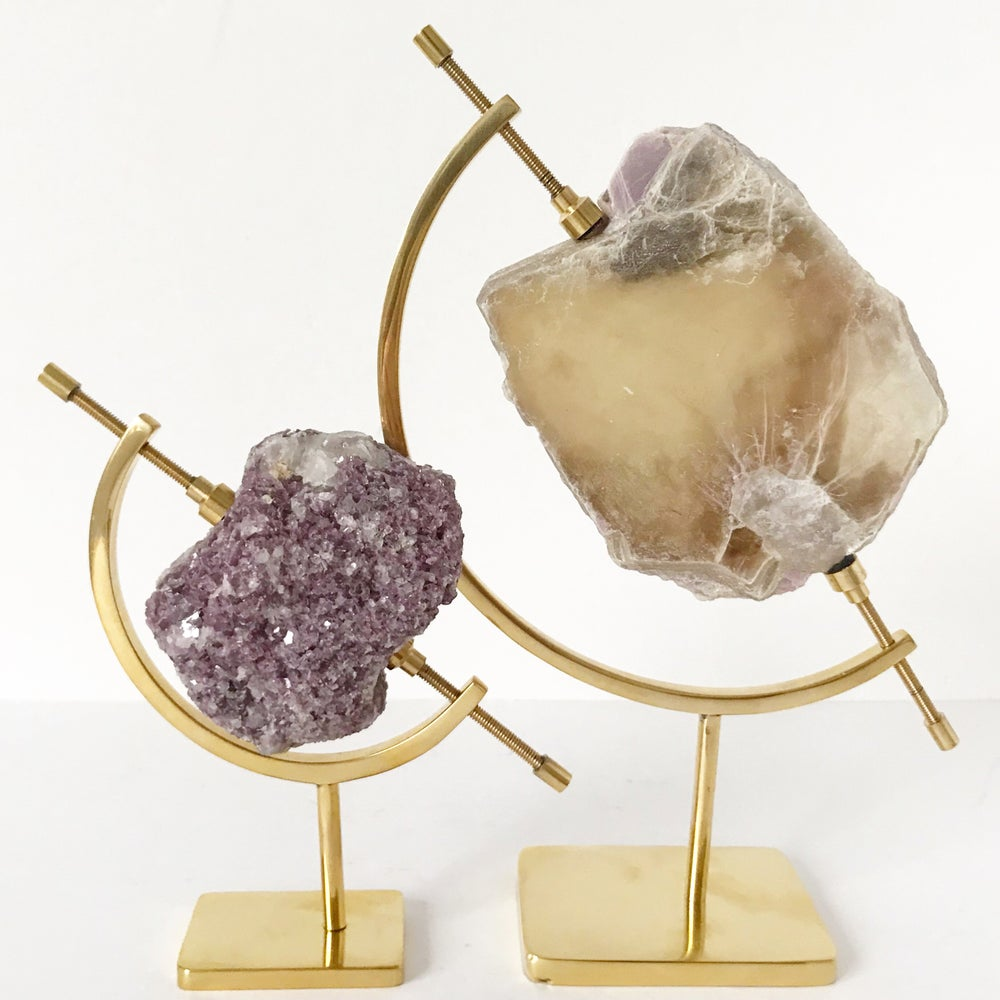 Image of Mica/Lepidolite no.31 + Brass Arc Stand