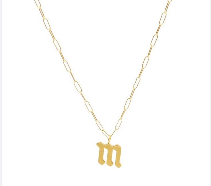 Image of Old English lowercase link'd Necklace (add initial at checkout in Sellers Notes)