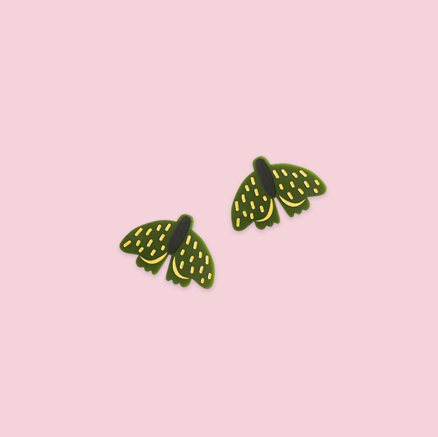 Image of Forest Moth Mini Studs (Olive)