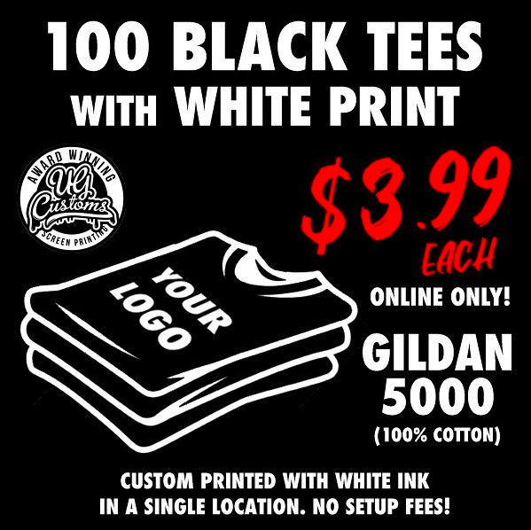 Image of 100 BLACK TEES WITH WHITE PRINT