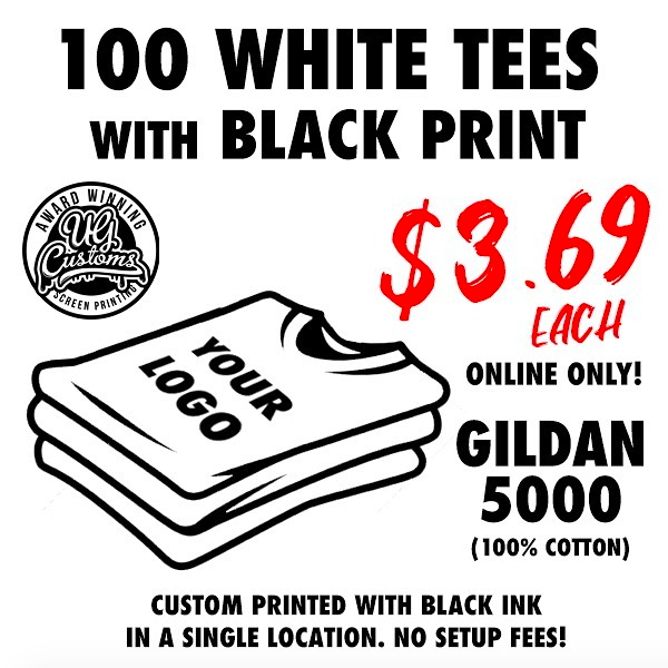 Image of 100 WHITE TEES WITH BLACK PRINT