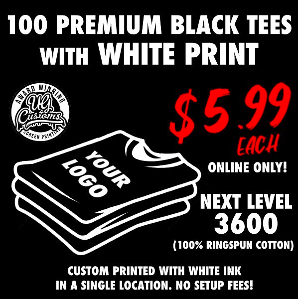 Image of 100 PREMIUM BLACK TEES WITH WHITE PRINT