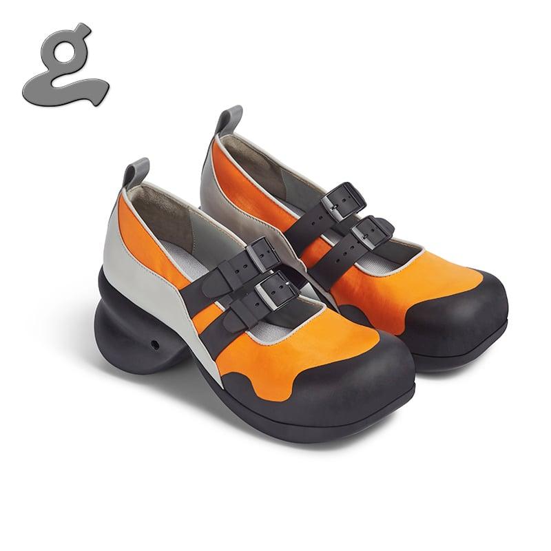 "Image of Round Toe Neoprene Platforms with Watchband in Black/Orange ""Watchband"""