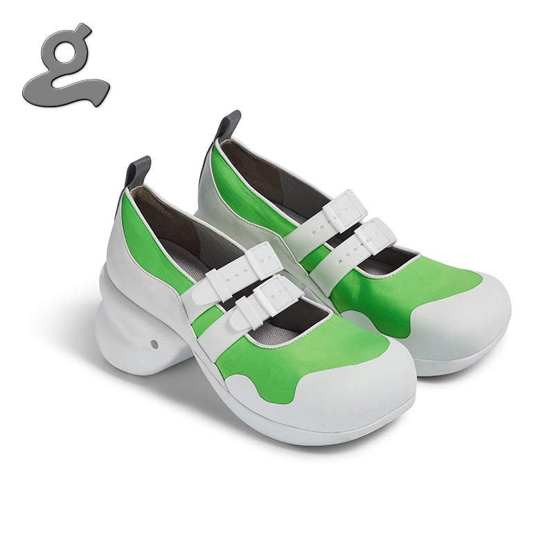 """Image of Round Toe Neoprene Platforms with Watchband in White/Green """"Watchband"""""""