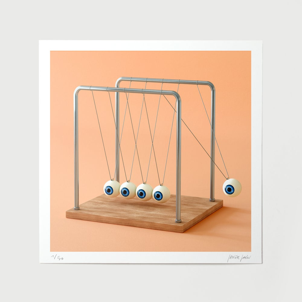 Image of Newton's cradle eyes