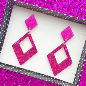 Image of Glamour Gal Glitter Earrings - Pink Confetti
