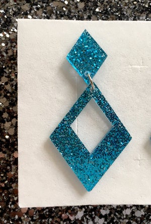 Image of Glamour Gal Glitter Earrings - Turquoise