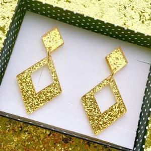 Image of Glamour Gal Glitter Earrings - Blue