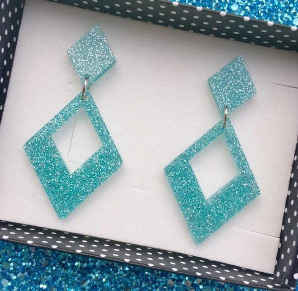 Image of Glamour Gal Glitter Earrings - Blue