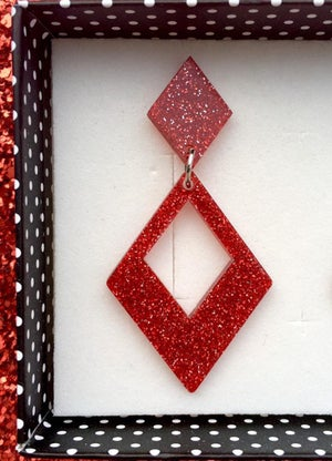 Image of Glamour Gal Glitter Earrings - Red