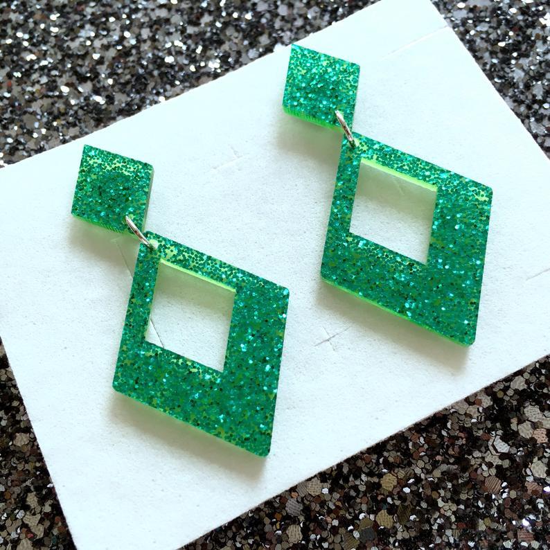 Image of Glamour Gal Glitter Earrings - Green