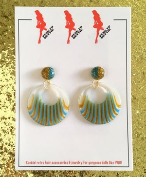 Image of Deco Dolls Delight Hoop Earings - Blue