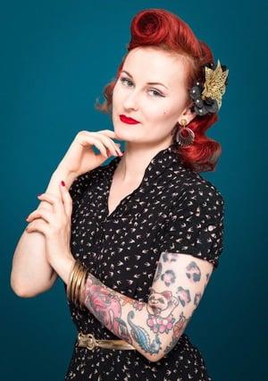 Image of Deco Dolls Delight Hoop Earings - Black