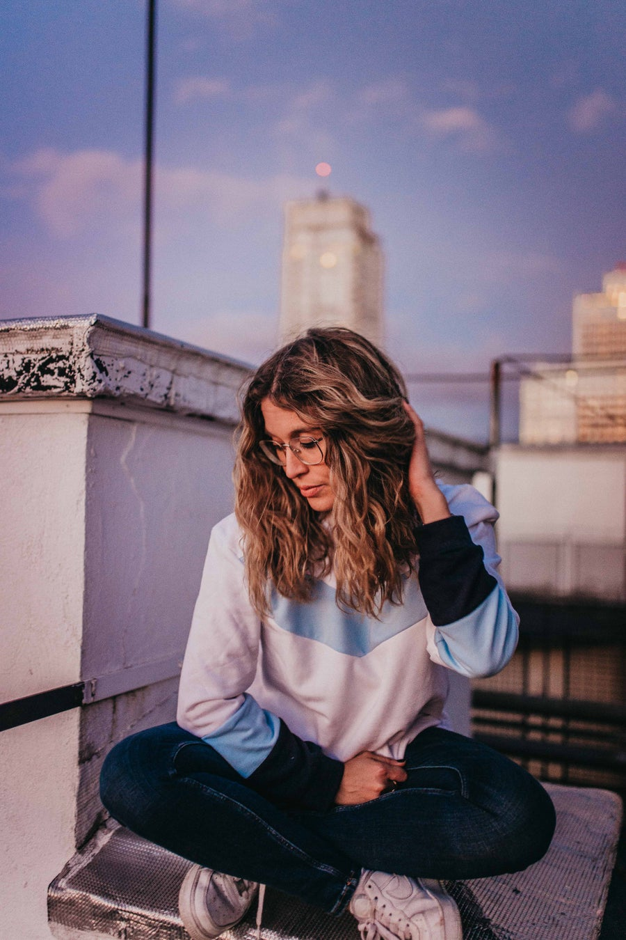 Image of BLUE PANEL SWEATSHIRT