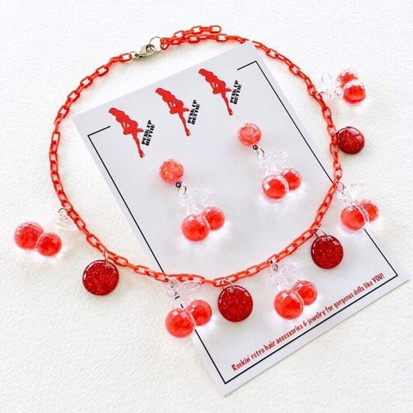 Image of Fruitti Tutti Cherry Necklace - Cherry Bomb Red