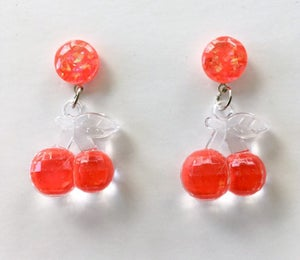 Image of SALE - Fruitti Tutti Earrings - Cherry Bomb Red