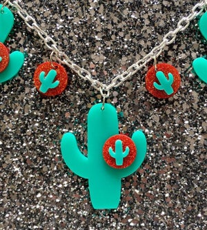 Image of Cactus Sunset Paradise Necklace - Teal/Red