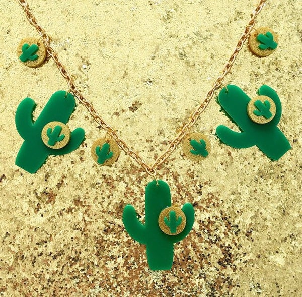 Image of Cactus Sunset Paradise Necklace - Green/Gold