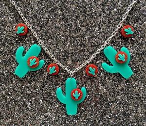 Image of Cactus Sunset Paradise Necklace - Green/Gold