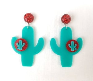 Image of Cactus Sunset Paradise Earrings - Teal/Red