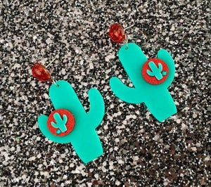 Image of Cactus Sunset Paradise Earrings - Green/Gold