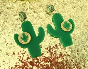 Image of Cactus Sunset Paradise Brooch - Green/Gold