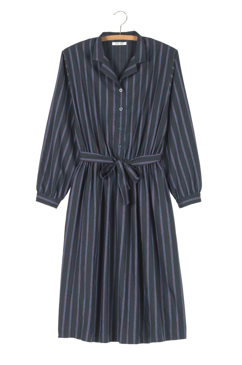Image of Robe ALEXANDRINE rayée forêt/bordeaux 169€ -50%