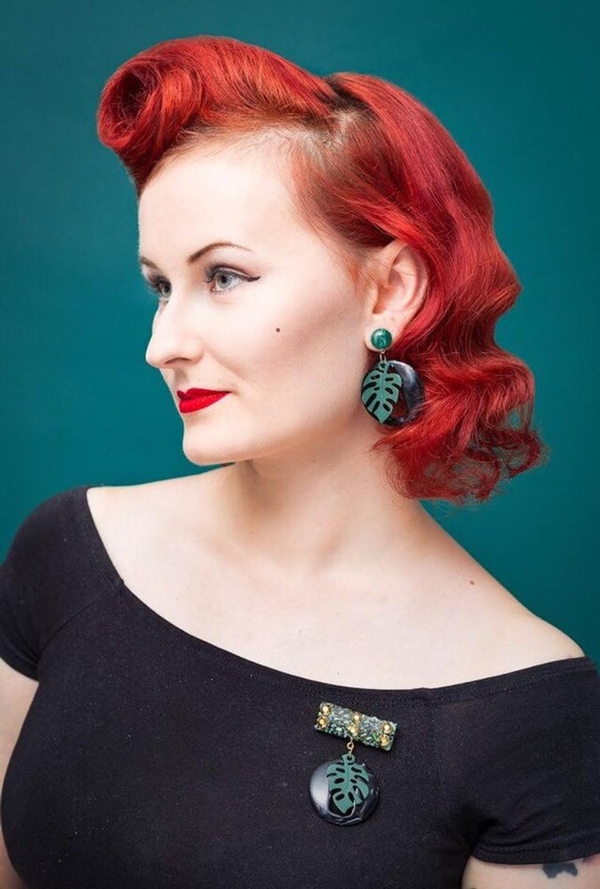 Image of Miss Monstera Deliciosa Earrings - Licorice/Mint