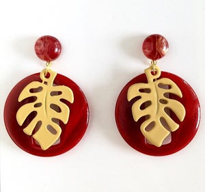Image of Miss Monstera Deliciosa Earrings - Burgundy/Yellow