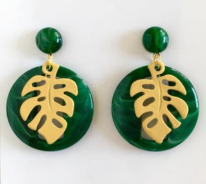 Image of Miss Monstera Deliciosa Earrings - Jade/Yellow