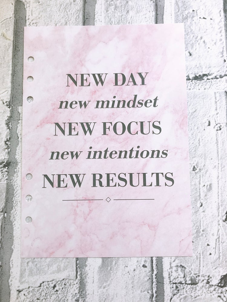 Image of A5 FOOD DIARY ORGANISER INSERT NEW DAY NEW MINDSET