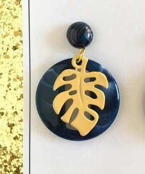 Image of Miss Monstera Deliciosa Earrings - Navy/Yellow