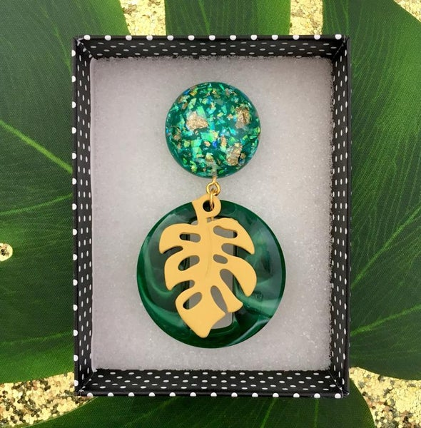 Image of Miss Monstera Deliciosa Brooch - Jade/Yellow