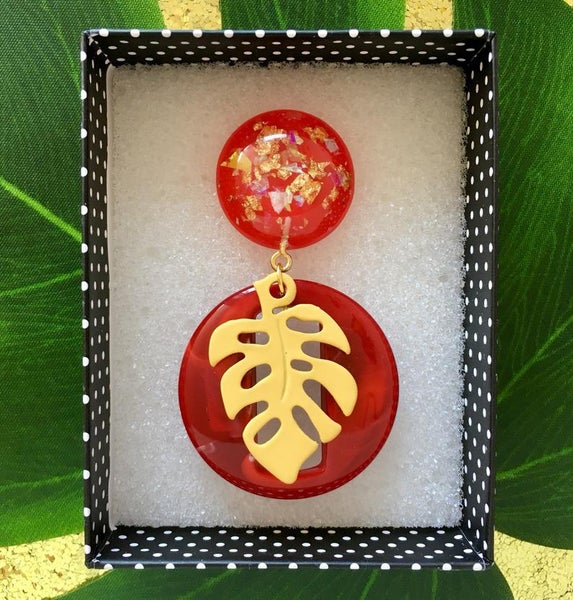 Image of Miss Monstera Deliciosa Brooch - Red/Yellow