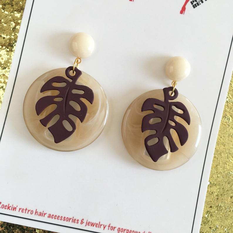 Image of Miss Monstera Deliciosa Earrings - Cream/Cocoa