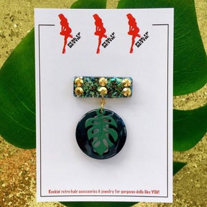 Image of Miss Monstera Deliciosa Brooch - Licorice/Mint