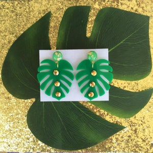 Image of Monstera Sparkle Paradise Earrings - Green/Gold